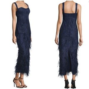 David Meister sequin feather navy gown